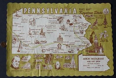 1970s Era Akron,Pennsylvania Historical Map placemat-Gettysburg-Turnpike & MORE!