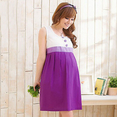 New Pregnant Women Dress Pleated Maternity Clothes Summer Sleeveless Dresses