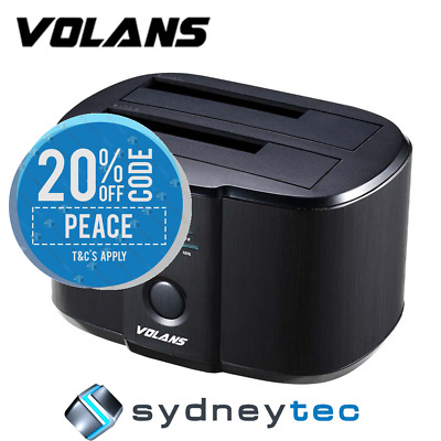 New VOLANS VL-DS30 Aluminium 2-Bay USB 3.0 HDD Docking Station with Clone