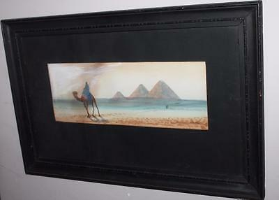 1900's Vintage Antique Water Colour Egyptian Scene Art Deco Original by A.ACHMET