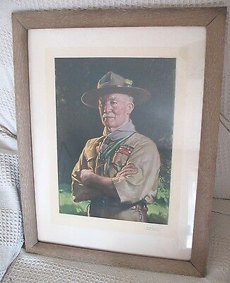 Old vintage1939 Oak Frame print Scout leader Lord Baden Powell with inscription