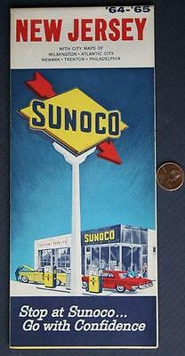 1964-65 Sunoco Oil Gas service station State of New Jersey road map-VINTAGE COOL