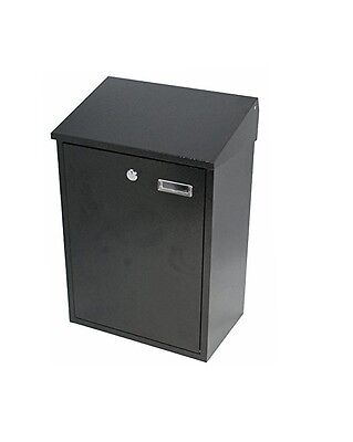 Steel Large Black  Mail Post Letter Box Outdoor Wall Mounted Lockable 40064