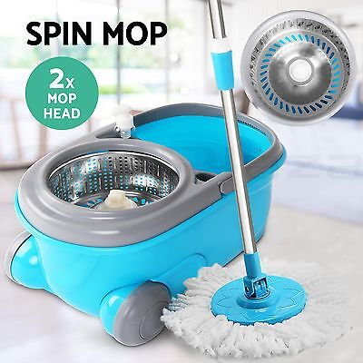 NEW 360 Degree Spin Mop & Spin Dry Stainless Steel Bucket Wheel Mop Head Handle