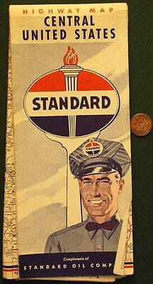 1950s Era Standard Oil Gas service station Central United States road map-NICE!