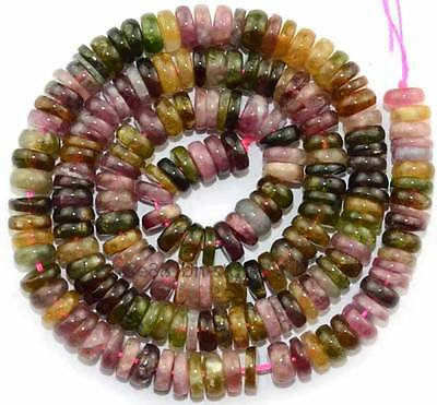 AA 2x6mm Natural Multicolor Tourmaline Rondelle Gemstone Beads 16''