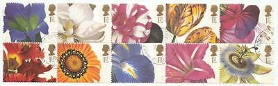 GB #1722a used Flowers se-tenant booklet pane 1997