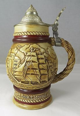 "Avon 1977 Lidded Ceramic Beer Stein Large Schooner Racing 8.5"" Brazil 269867"