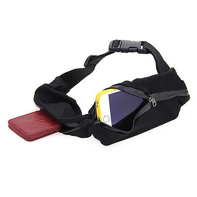 Double Outdoor Sports Running Waist Bag Pocket Belt For Samsung Cell Phone Black