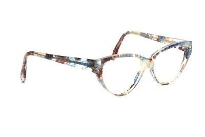 Elegante transparent perlmutt braun blaue Damenbrille made in France   H20
