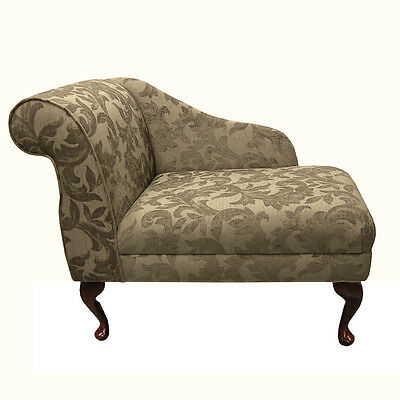 Compact Chaise Longue Chair in a Floral Gold Fortuna Fabric