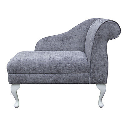 Compact Chaise Longue Chair in a Grey/ Silver Velluto Fabric