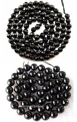 4,6,8,10mm Cut Natural Black Tourmaline Round  Gemstone 128 Faceted Beads 15''