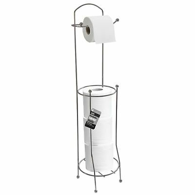 New Free Standing Toilet Roll Holder Tissue Paper Storage Chrome Dispenser Stand