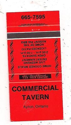 Commercial Tavern Ayton ON Ontario Matchcover 042816