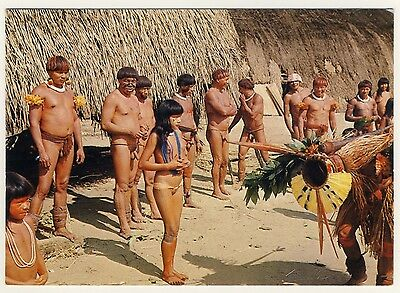 Brasil NUDE KAMAIURA INDIANS' DANCE OF THE DEATH / INDIANER Brazil * 1960s PC