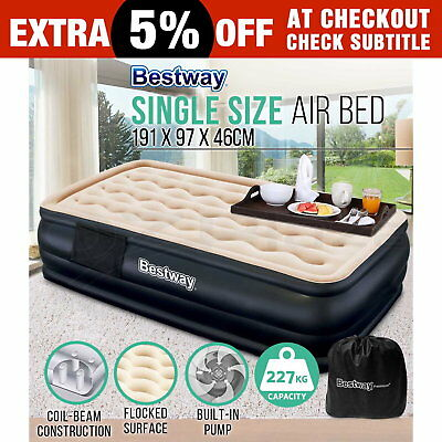 New Bestway Single Inflatable Air Bed Mattress Electric Pump Camping Mat