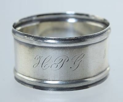 """Antique Coin Silver Napkin Ring Engraved """"hpg"""""""
