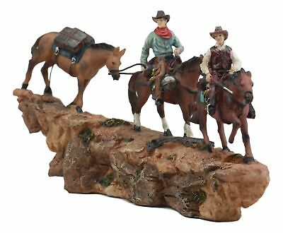 Wild West Country Cowboy Pack Riding on Horse Over Narrow Ledge Figurine Decor