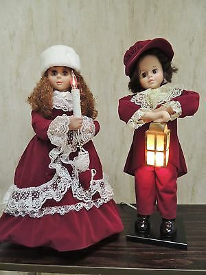 Set-2 Christmas Animated Figurines Telco Motion-ette Boy & Girl Burgundy Outfits