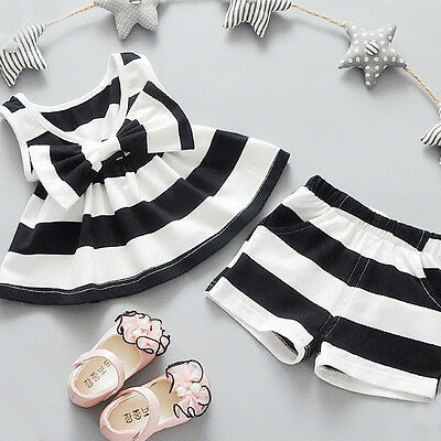 2PCS Newborn-5Y Baby Girls Bowtie Tank Tops Dresses+Shorts Pants Outfits Clothes