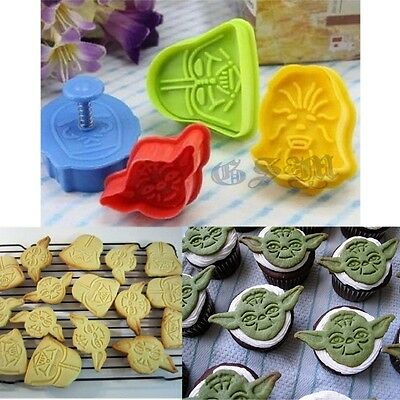 4x Star Wars Cake Fondant Plunger Cutter Mould Biscuit Cookie Decorating Tools