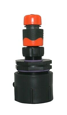 1000 litre IBC water tank and garden hose adapter fittings