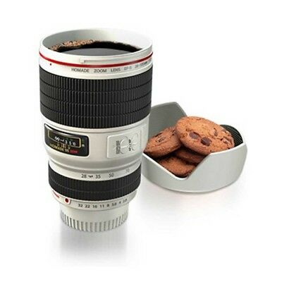 White Stainless Camera Lens Cup for Coffee Drinks Tea Hot Thermos Travel Mug