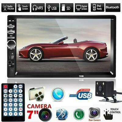 "2 Din 7"" Bluetooth Car In-Dash Stereo MP5 Player Touch FM Radio USB AUX + Camera"