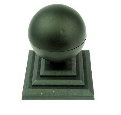 "Linic 6 x Black Round Sphere Fence Top Finial + 4"" Fence Post Cap UK Made GT0034"
