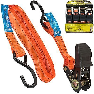 "4pc 1""x 15ft Ratchet Strap Set Tough Heavy Duty Tie Down Quick Release Lever"