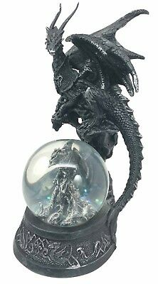 Crouching Armored Dragon Knight Shadow Warrior Water Globe Figurine Collectible