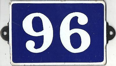 Old blue French house number 96 door gate plate plaque enamel metal sign steel