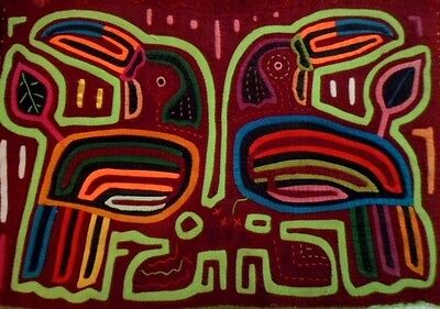 Kuna Indian Vintage Hand-Stitch Two Toucan Mola-Panama 16051001L
