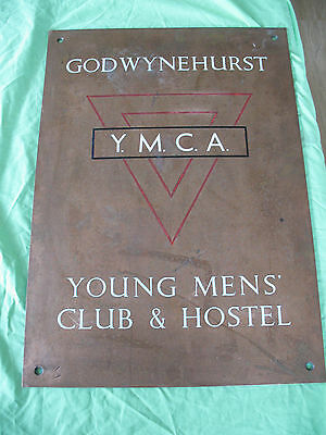 Rare old vintage reclaim Bronze & Enamel YMCA sign plaque  Godwyne Hurst Devon