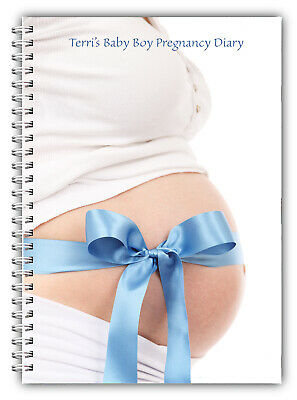 New A5 Personalised Baby Boy Mum To Be Pregnancy Diary Planner Journal Gift