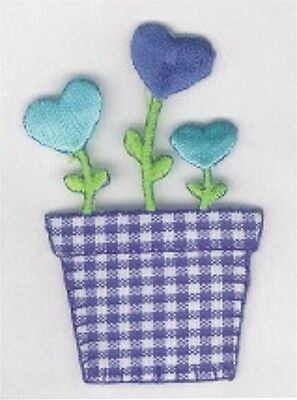 Heart Flower in Pot Spring Embroidery Applique Patch