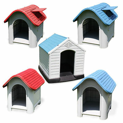 Kennel Blue White Red Roof Hatch Hideout Dog House Dog Hut Plastic