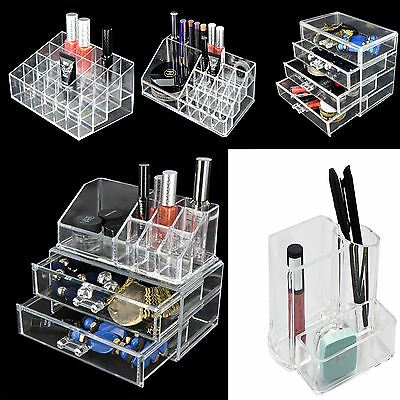 Cosmetic Organizer Jewelry Storage Clear Acrylic Makeup Drawers Holder Case Box
