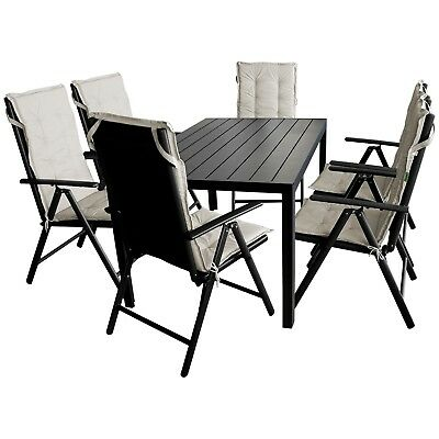 terrassenm bel set gartentisch 150x90cm 6 gartenst hle 6 sitzauflagen eur 499 95 picclick de. Black Bedroom Furniture Sets. Home Design Ideas