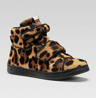 419615d6264  365 Gucci Sneakers Kids Baby Leopard Jaguar Calf Hair Hi Tops Web Logo 23  Us 7