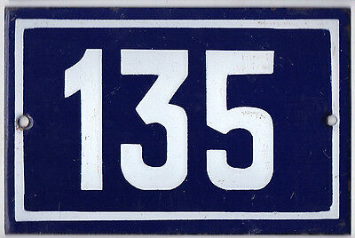 Old blue French house number 135 door gate plate plaque enamel metal sign steel