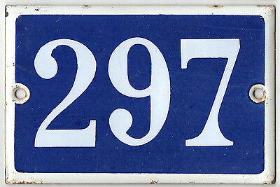 Old blue French house number 297 door gate plate plaque enamel metal sign steel
