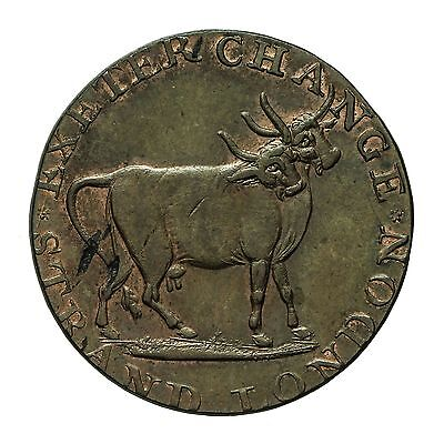 Middlesex Pidcock's Halfpenny Token  Two Headed Cow / Toucan