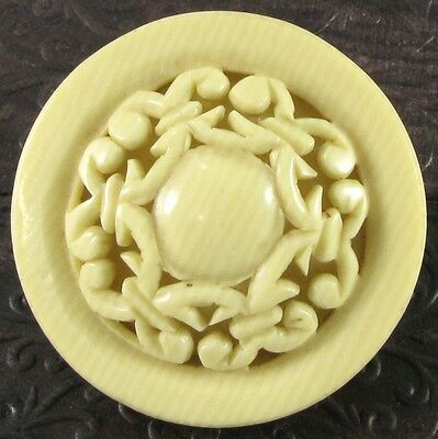 Vintage Celluloid Pyralin Button, Pierced Lacy-Like Top