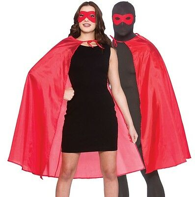 Adult Mens Ladies Unisex Superhero Fancy Dress Kit Cape & Mask Red Cloak New w