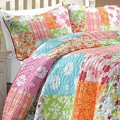 Aloha Girl's Multicolor Printed Cotton Pieced 3-piece Quilt Set