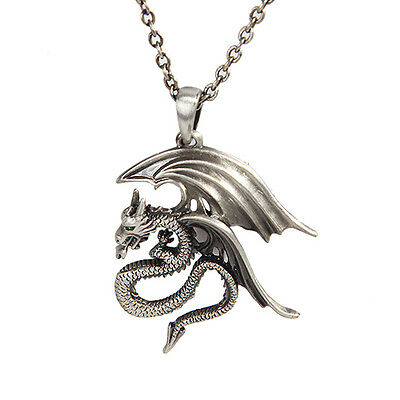 WINGED DRAGON Mystica Necklace Pendant Silver Finish Jewelry Dragons Merchandise
