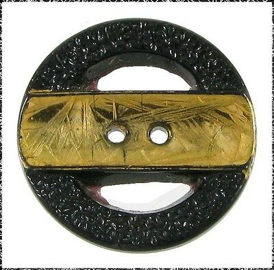 Vintage Pierced Black Glass Button w/ Gold Luster Band Across Center