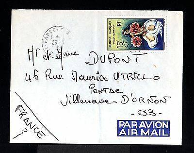 10069-POLYNESIA FRANÇAISE-AIRMAIL COVER PAPEETE to PONTAC (france) 1968.French